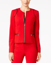 Calvin Klein Piped Trim Blazer Red Black