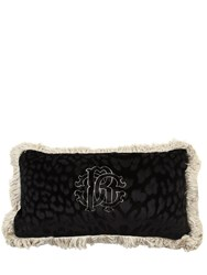 Roberto Cavalli Monogram Velvet Rectangle Accent Pillow Black