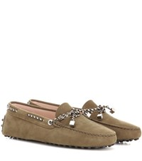 Tod's City Gommino Suede Loafers Green