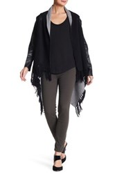 Love Token Faux Leather Sleeve Fringe Poncho Black
