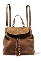 Maje Chain Trimmed Suede Backpack Tan