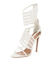 Alaia Mesh And Leather Cuffed Sandals White