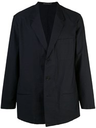 Yohji Yamamoto Washed Cotton Twill Jacket Blue