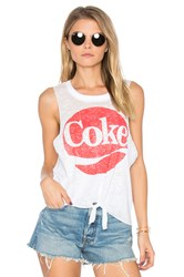 Chaser Coke Tie Front Muscle Tee White