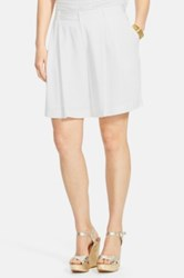 Lauren Ralph Lauren Pleat Wide Leg Shorts Plus Size White
