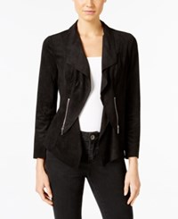 Alfani Petite Faux Suede Open Front Jacket Only At Macy's Deep Black
