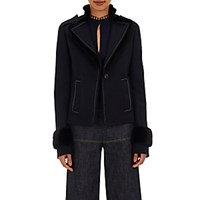 Derek Lam Women's Fur Trimmed Military Jacket Black Navy Black Navy