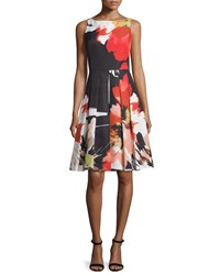 Carmen Marc Valvo Sleeveless Floral Print Fit And Flare Dress Coral