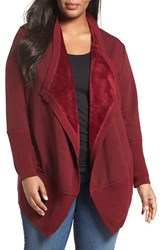 Bobeau Plus Size Women's Cozy Faux Fur Lined Cardigan Burgundy