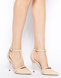 Asos Pulse Pointed T Bar High Heels Nude