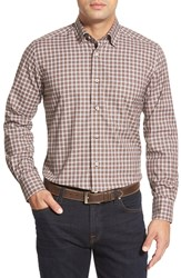 David Donahue Regular Fit Plaid Oxford Sport Shirt Chocolate