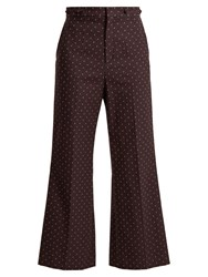 Chloe Embroidered Dot Cotton Trousers Purple Multi
