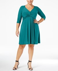 Love Squared Trendy Plus Size Knotted Fit And Flare Dress Teal