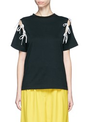 Facetasm Detachable Ribbon Sleeve Cotton T Shirt Black