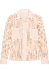 See By Chloe Stretch Crepe Trimmed Guipure Lace Shirt Blush