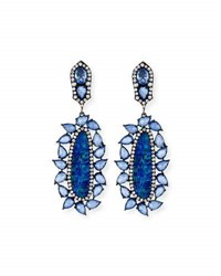 Sutra Opal And Blue Sapphire Drop Earrings With Diamonds