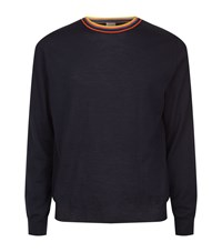 Paul Smith Stripe Crew Neck Merino Jumper Male Navy