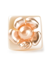Chanel Vintage Chunky Floral Ring White
