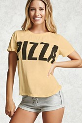 Forever 21 Pizza Graphic Pj Top Yellow Black