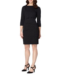 Tahari By Arthur S. Levine Petite Polka Dot Tiered Sheath Dress Black