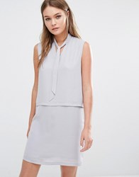 Fashion Union Layered Sleeveless Dress With Tie Up Front Grey