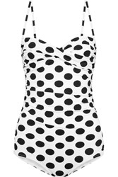 Dolce And Gabbana Ruched Polka Dot Swimsuit White