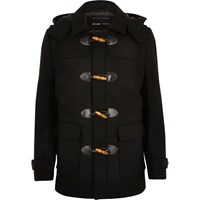 Only And Sons River Island Mens Black Duffle Coat