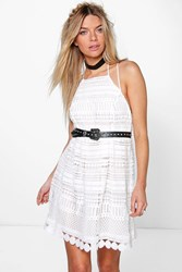 Boohoo High Neck Crochet Lace Dress White