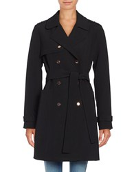 Kenneth Cole Solid Double Breasted Trench Coat Black