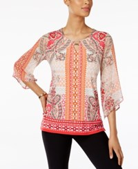 Jm Collection Printed Keyhole Tunic Only At Macy's Peach Tabitha Tile