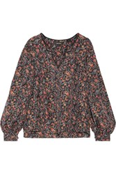 Isabel Marant Ryton Printed Silk Blouse Black