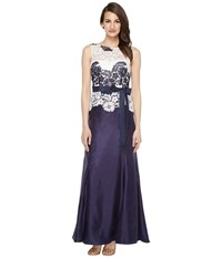 Tahari By Arthur S. Levine Lace Popover Gown Navy White Women's Dress Blue