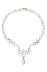 Nina 'Romantic' Crystal Swirl Faux Pearl Frontal Necklace Ivory Crystal