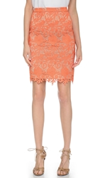 Alice Olivia Farrel Lace Pencil Skirt Coral Nude