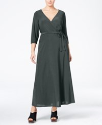 Love Squared Plus Size Faux Wrap Maxi Dress Grey