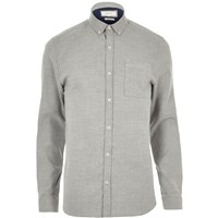 River Island Mens Grey Stretch Casual Muscle Fit Shirt