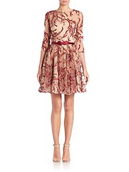 Marchesa Belted Metallic Embroidered Tulle Dress