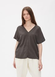 Black Crane 'S Short Sleeve Y Top In Charcoal Size Xs Linen Rayon