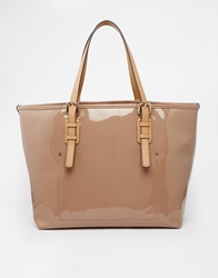 Mango Patent Shopper Bag Nude