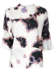 Theatre Products Printed Three Quarter Sleeve Blouse White