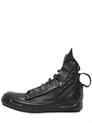 Artselab Perforated Leather High Top Sneakers