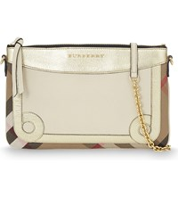 Burberry Peyton Leather And House Check Clutch Lime Stone