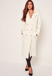 Missguided Lightweight Military Trench Coat White Ivory