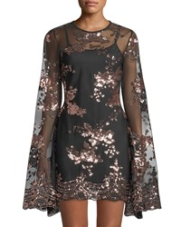 Haute Rogue Liona Sequined Bell Sleeve Illusion Dress Black