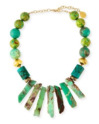 Devon Leigh Turquoise Round And Spike Necklace