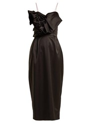Anna October Ruffled Satin Midi Dress Black