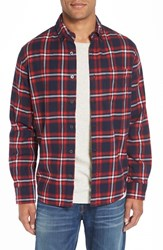 Relwen Men's Double Faced Plaid Flannel Shirt Red Navy District Plaid