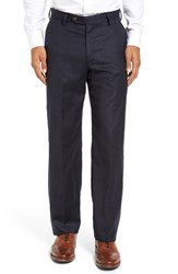 Berle Men's Big And Tall Flat Front Solid Wool Trousers Heather Navy
