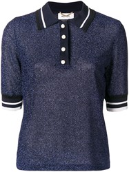 Muveil Knitted Polo Shirt Blue