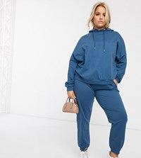 Asos Design Curve Tracksuit Hoodie Slim Jogger With Tie In Organic Cotton Blue
